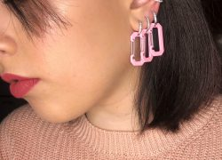Silver pink clip earring